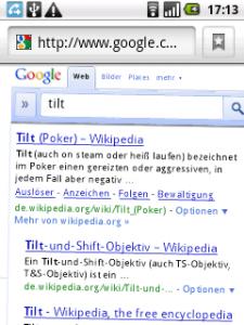 Screenshot: Google Suche (Android)