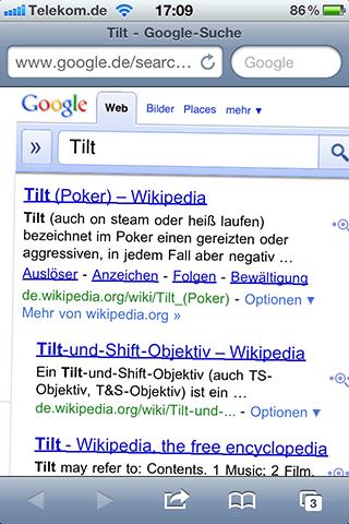 Mobile Google Suche leicht schräg