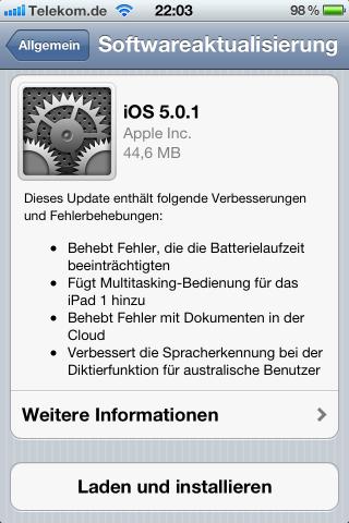 Erstes OTA Update für iOS5 wurde veröffentlicht …