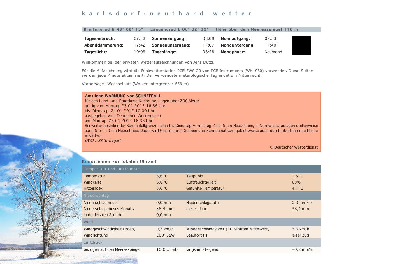 Neues Hobby-Projekt: Live-Wetterdaten für Karlsdorf-Neuthard