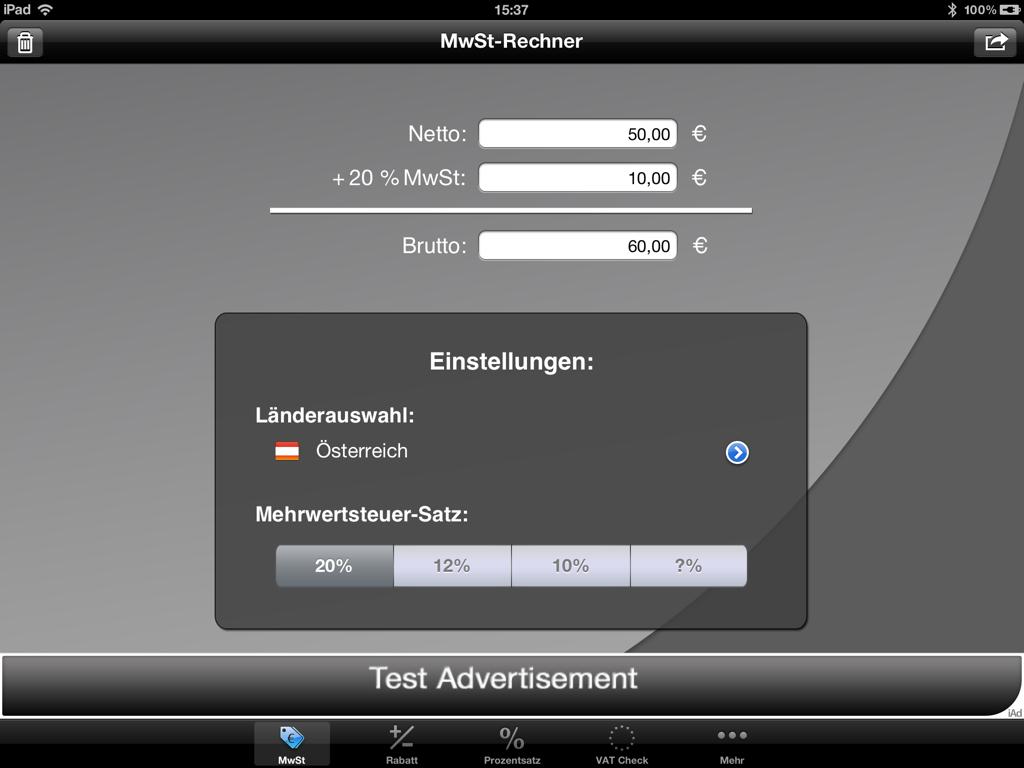 Erste Bilder vom Mobilen MwSt‐Rechner für das iPad
