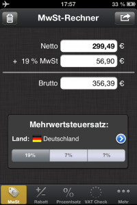 Screenshot vom MwSt Rechner 4.3